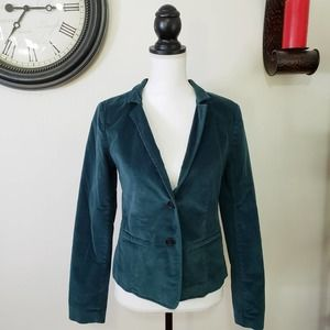 Anne Taylor LOFT Emerald Turquoise Velvet Blazer